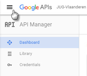 GoogleAPI API Manager menu