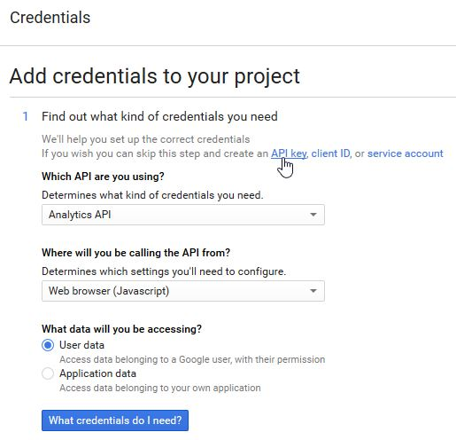 GoogleAPI Manager AnayticsAPI step3 Credentials