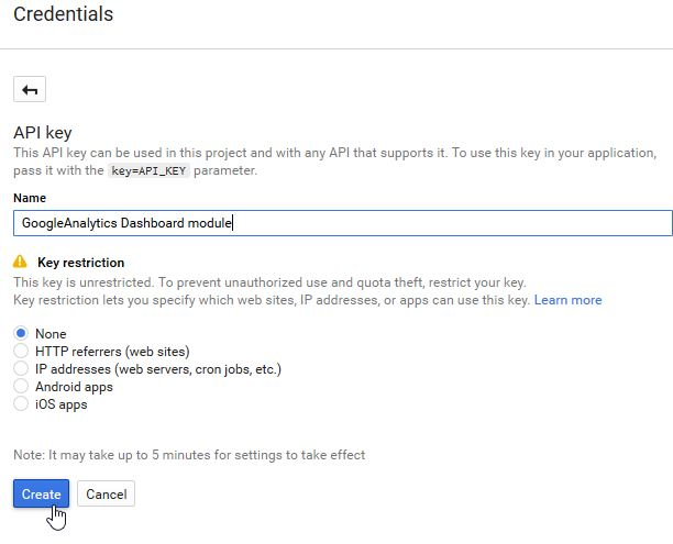 GoogleAPI Manager AnayticsAPI step4 Credential API