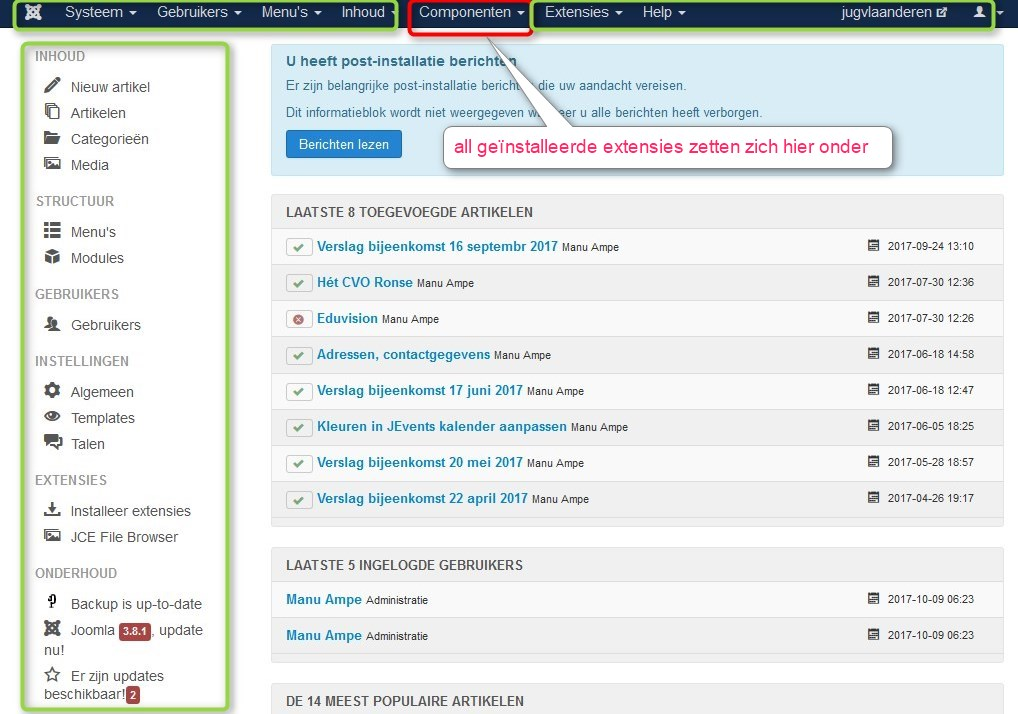 backend joomla 3