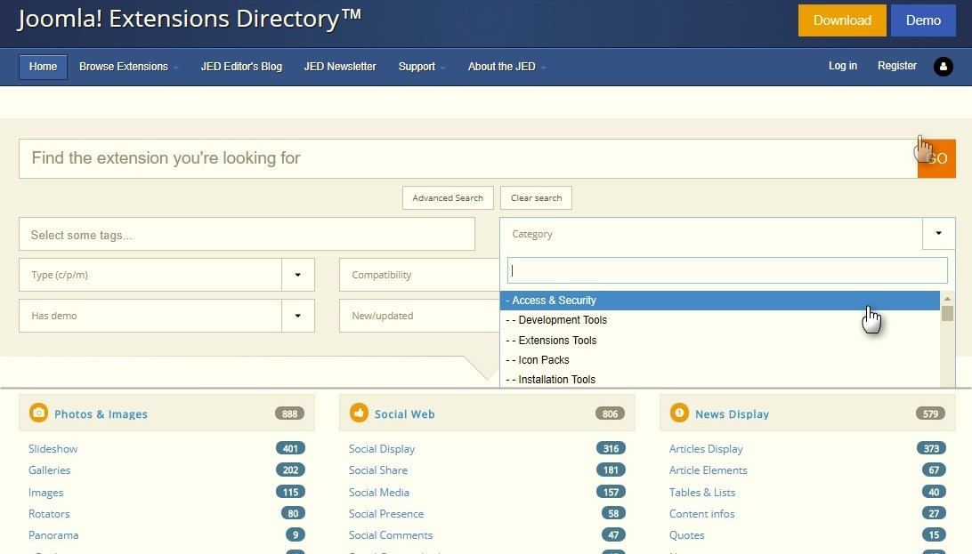extension directory joomla